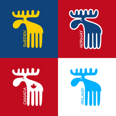 Moose as a symbol of Canada, Sweden, Finland and Norway. EPS 10 file Illustration