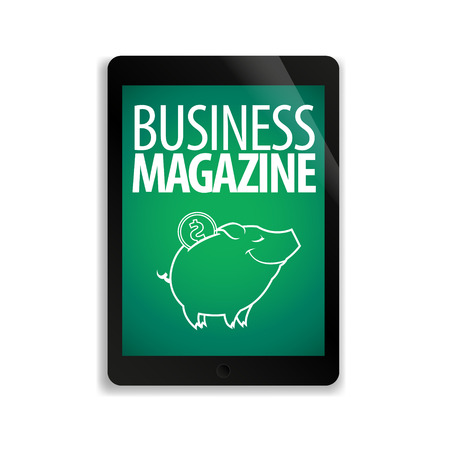 computers online: Online business magazine on the screen of the tablet.