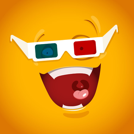 emotion expression: Amazed emoticon with 3d glasses.