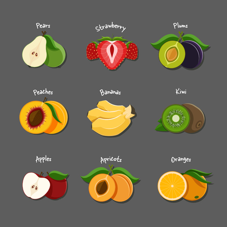 sliced fruit: Vector illustration of sliced fruits and berries such as pear, strawberry, plum, peach, banana, kiwi,apple,apricot and orange