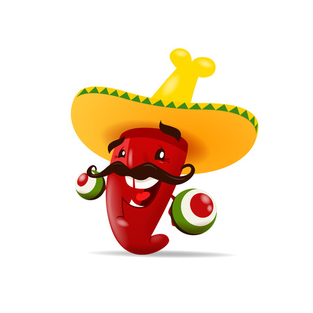 Chili pepper with maracas.