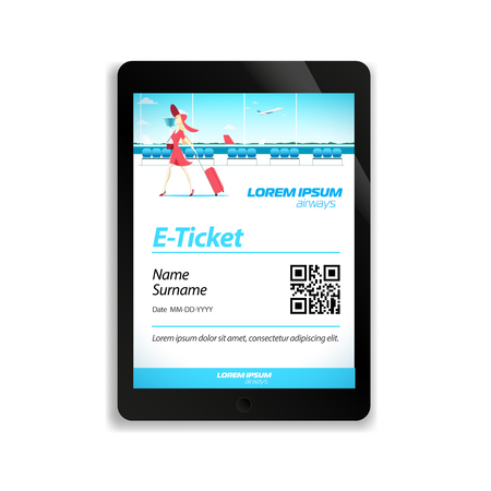 electronic tablet: Electronic ticket for the flight on the screen of the tablet pc. Illustration