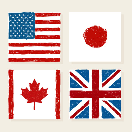flags usa: Vector flags of USA Japan Canada and Great Britain in kids style. Illustration