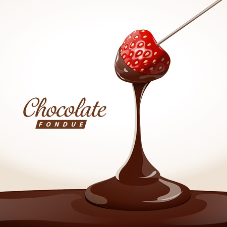 Aardbei gedoofd in smakelijke traditionele Zwitserse chocoladefondue.