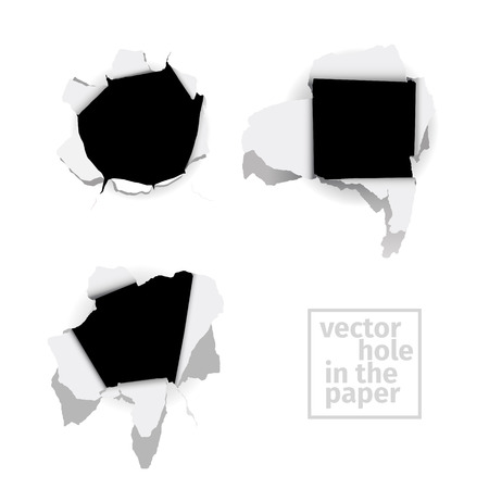 hollow walls: Vector set of the different holes in the paper. Illustration