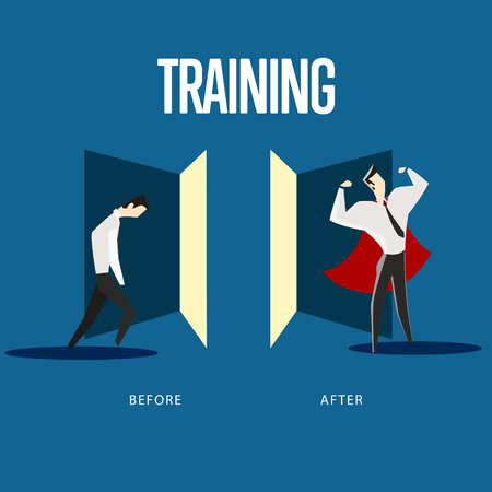 Vector illustration of weak man before training and strong man after training.