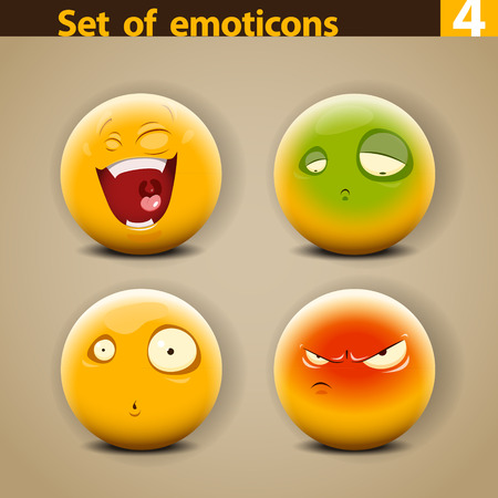 excite: Vector set of different cute Emoticons.