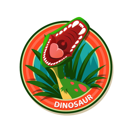 Vector emblem with roaring dinosaur - stock illustration.