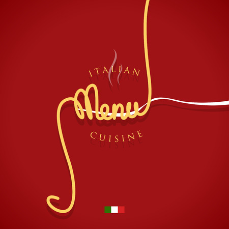 Italian cuisine menu cover with spaghetti and the fork - vector illustration. Иллюстрация