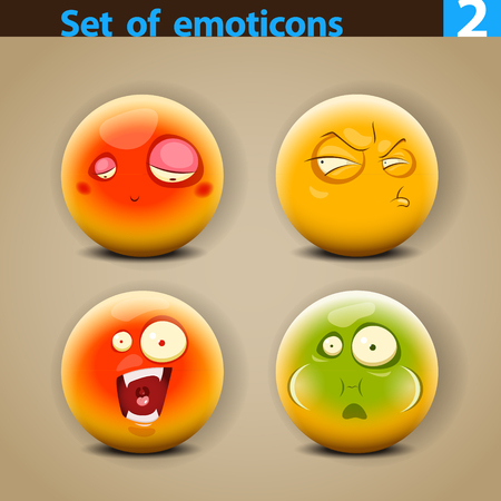 hesitate: Vector set of smiley faces with different emotions.