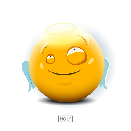 emotion expression: Emoticon is innocent like an angel - vector illustration. Illustration