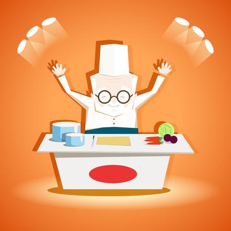 Cooking show. The elderly chef welcomes all. EPS 10. Ilustração