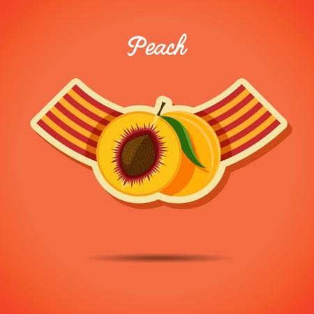 sliced fruit: Emblem design with peach - stock vector illustration.