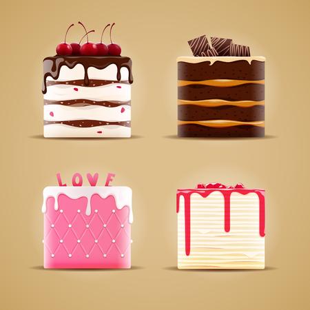 4 つのおいしい別のケーキ。  イラスト・ベクター素材
