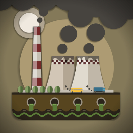 filthy: Environmental pollution stock vector illustration with smoke stacks.