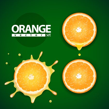 sliced: Vector set of pieces of the orange with splash of orange juice and flowing juice on the green background.