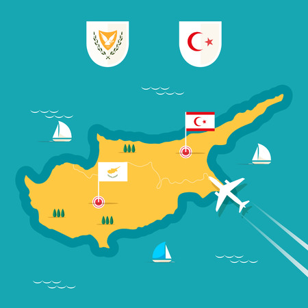 sea transport: Cyprus map in flat style.