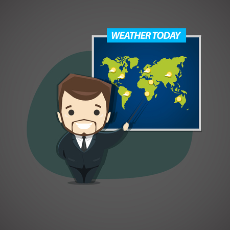 newscast: Television announcer talks about the weather standing next to the world map. Illustration