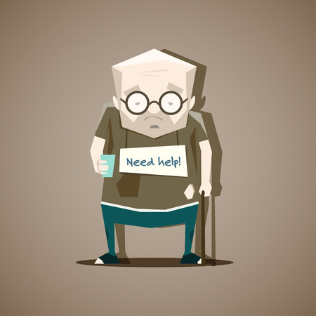 homelessness: Homeless man in old, tattered clothes with a sign need help - vector illustration. Illustration