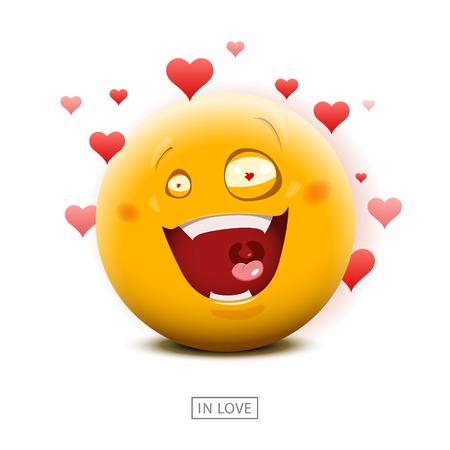 emotion faces: Emoticon in love - vector illustration. Illustration