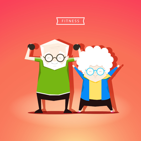 Grandparents are engaged in fitness - stock vector illustration. Stock Illustratie