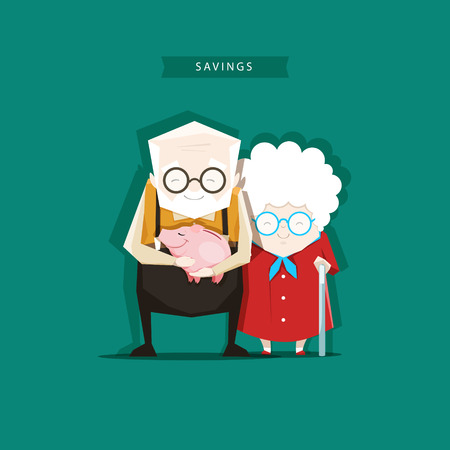 Grandparents keep their savings in the piggy bank. EPS 10. Illustration