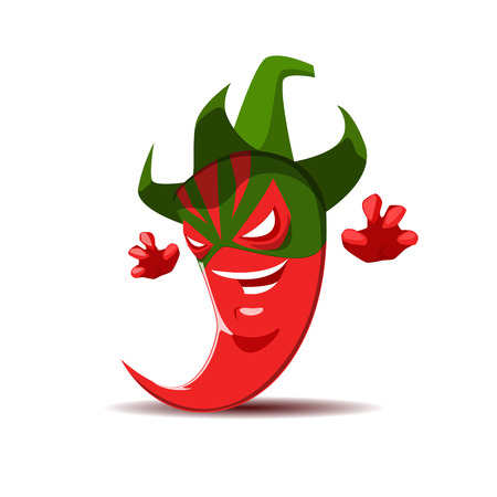 Angry red chili pepper mexican wrestler. Illustration