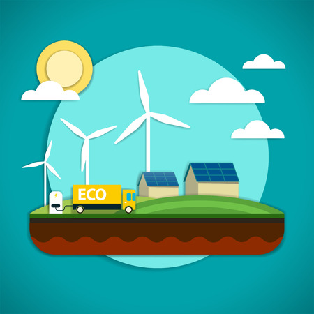 Vector illustration of the elements of the environmental technology such as wind power plant, solar battery and electric car which is preserving the environment. Illusztráció