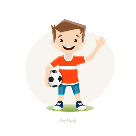 Vector illustration of young soccer player isoolated on white background.