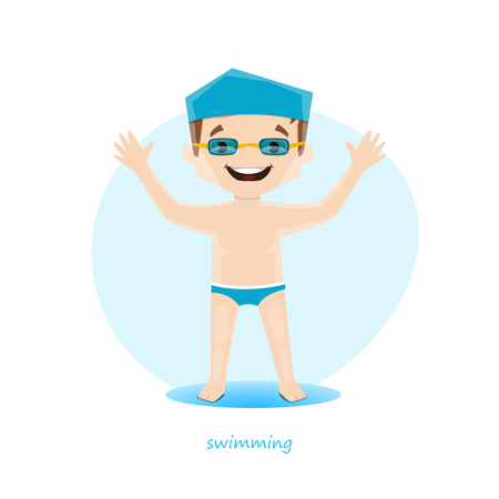 Vector illustration of young swimmer isolated on white background. EPS 10 file.