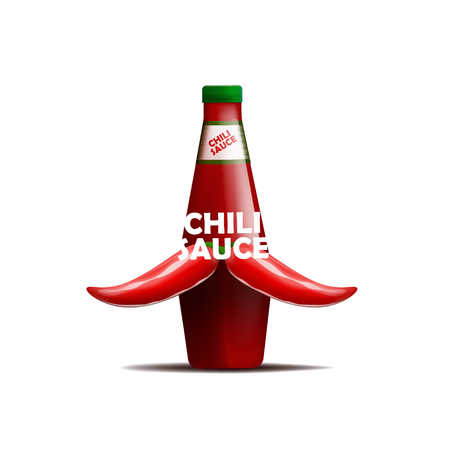 Realistic vector illustration of bottle of chili sauce with a mustache of chili peppers Illustration