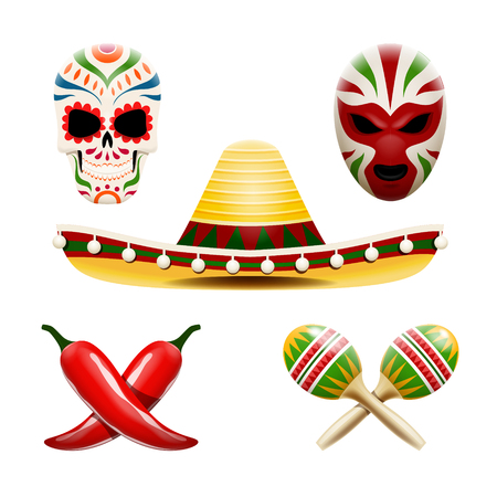 Vector set of mexican symbols such as sombrero, maracas, chili peppers, sugar skull calavera and wrestler mask file. 矢量图像