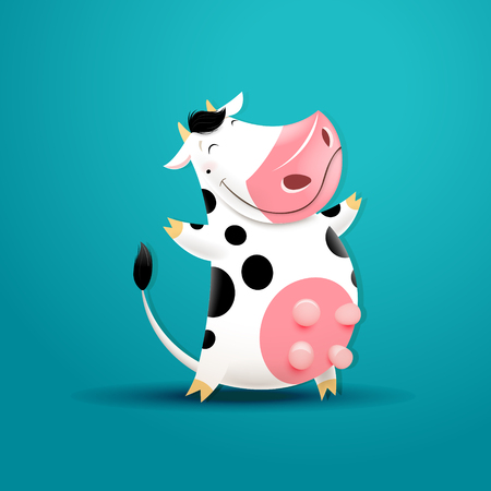 Vector illustration of funny smiling cow.