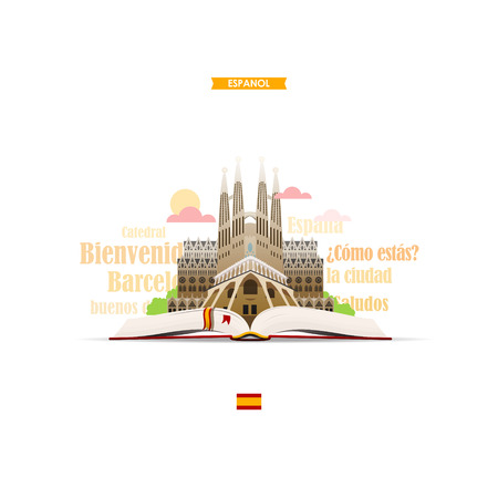 Learning spanish. Illustration with the image of an open book, cathedral and Spanish words and expressions. EPS 10 file.