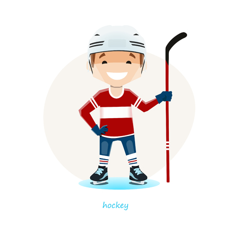 Vector illustration of young hockey player isolated on white background.
