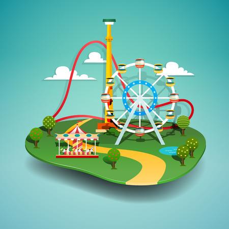 Vector illustration of amusement park. Paper cut style.  イラスト・ベクター素材