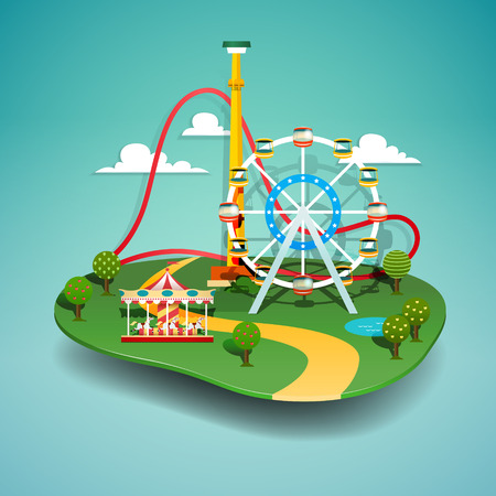 Vector illustration of amusement park. Paper cut style. Vettoriali