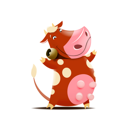 Vector illustration of funny brown cow with bell isolated on white background. Illustration
