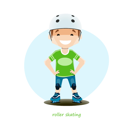 Vector illustration of young roller skater isolated on white background Ilustrace