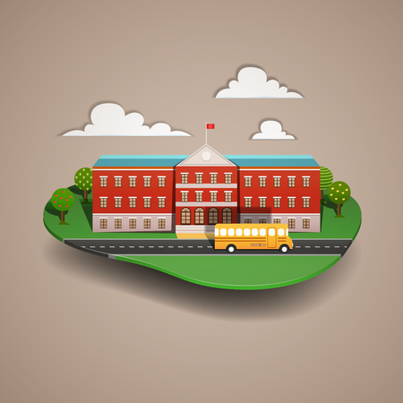Vector illustration of a school bus at the school. Paper cut style. Illustration
