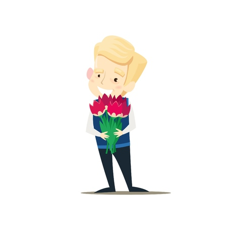 The boy is holding a bouquet of flowers. Vector illustration.