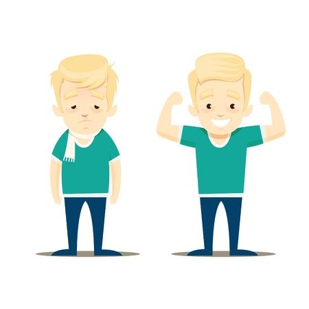 Un niño enfermo y un niño sano están uno al lado del otro. Ilustración de vector.