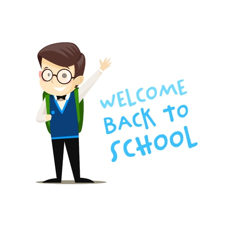 Happy schoolboy with backpack welcomes all vector illustration of welcome back to school concept. Vector illustration. Stockfoto - 122855089