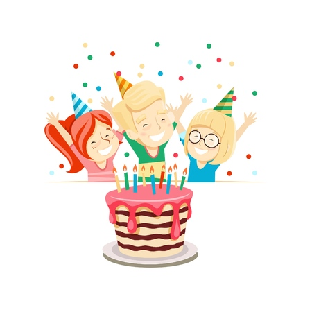 Сhildren at a birthday party in funny hats look at the cake and rejoice. Vector illustration.