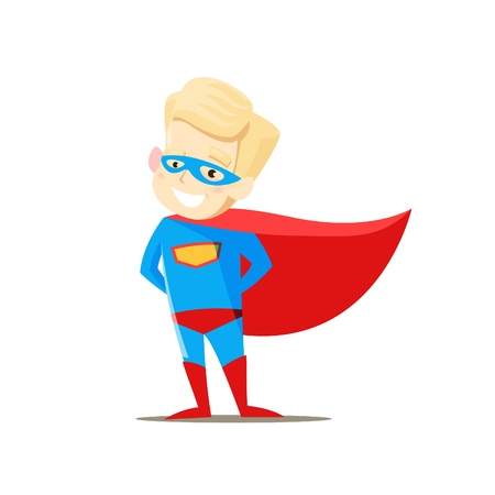 Boy standing in superhero costume on white background. Vector illustration.