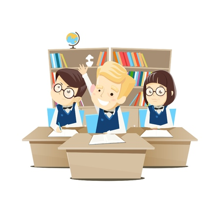 Children sit at their desks at school in the classroom and learn. Vector illustration.  イラスト・ベクター素材