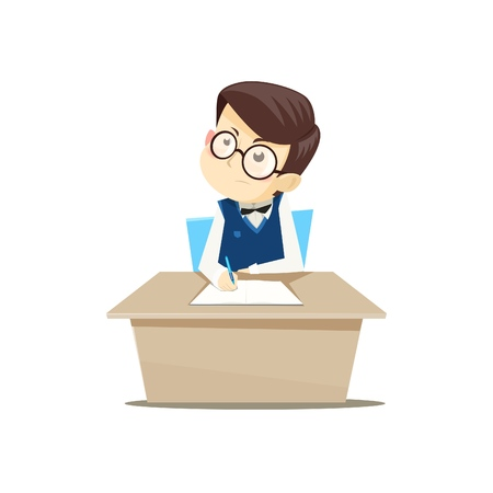 Pupil sitting at a Desk and doing homework. Vector illustration.