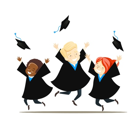 Young graduates rejoice and throw their hats. Vector illustration.  イラスト・ベクター素材