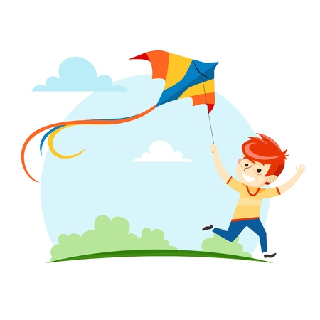 The boy runs and launches a kite into the sky. Vector illustration.