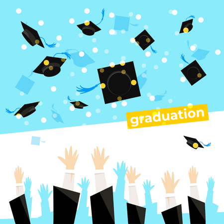 Celebrating a graduation banner with student hands which is throwing up square academic caps. Vector illustration. Ilustração